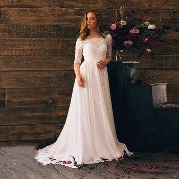 Chfffon vestido de novia 2018 Lvory/blanco de encaje de cuello bote vestidos de novia gran oferta de encaje-up Sweep-floor