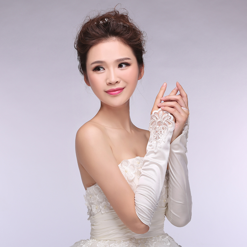 Hot Cheap Appliques White Ivory Transparent Lace Fingerless Bridal Gloves Wedding Gloves Wedding font b Accessories