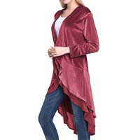 Autumn Women Velvet Jackets Coats Chiffon Ruffles Elegant Long Outerwear Casual 2018 Female Loose Maxi Overcoat