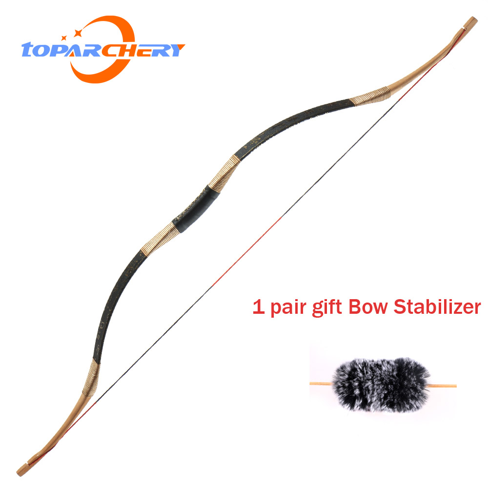 TOPARCHERY Traditional Recurve Bow Archery Hungarian Style Handmade Longbow Horsebow 30-50 Lbs