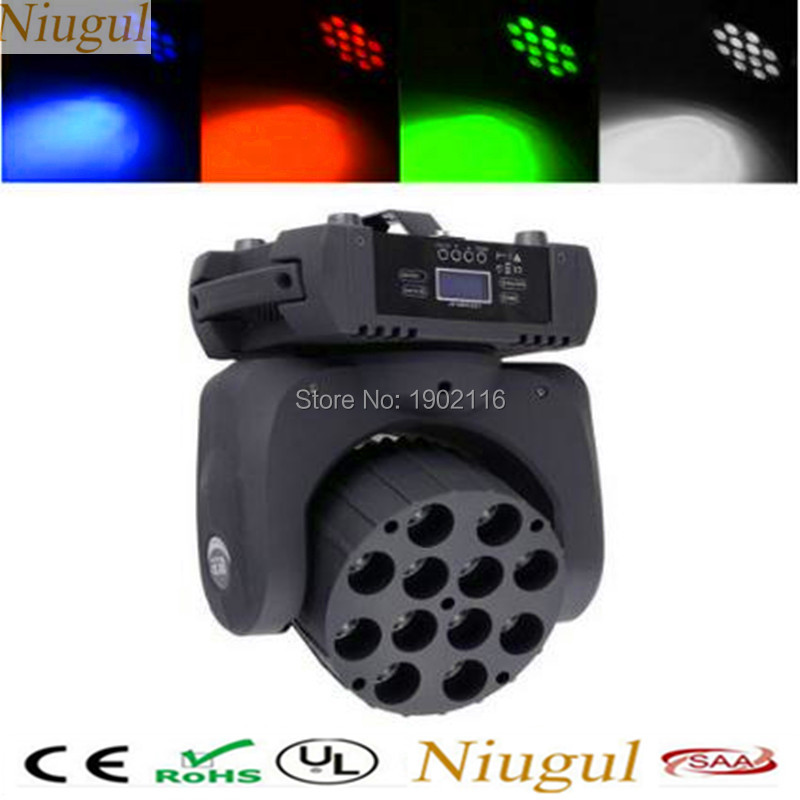 Niugul Best quality 12x12W LED Beam RGBW 4in1 LED Moving Head/DMX512 Stage Spot Light/Strobe Wash Lamp/LED Effect stage Lighting