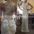 2015 Chiffon Floor Length Bow Sexy Elegant Mermaid Evening Dress 2017 Long Formal Evening Gown vestido de festa longo SL-E99