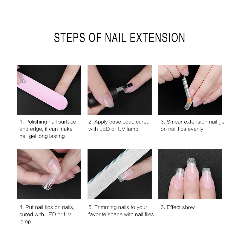 100pc/set Jelly Poly Gel False Nail Tips Model Form for Full Cover ...
