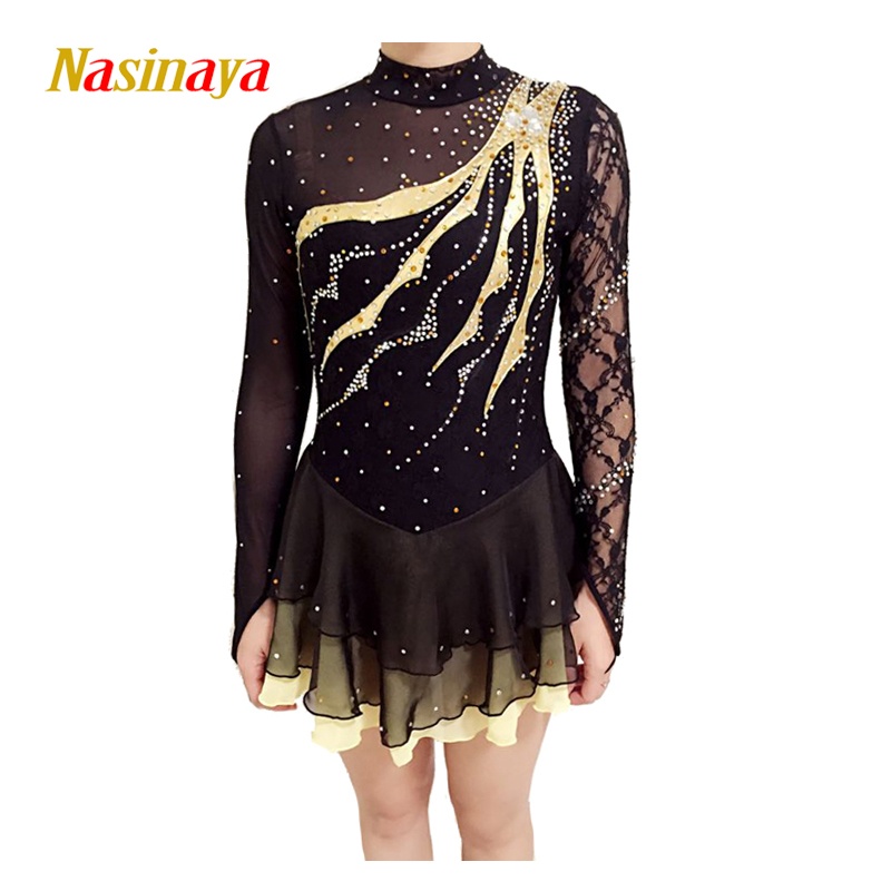 Customized Costume Ice Figure Skating Gymnastics Dress Competition Adult Child Girl Black Three Layers Skirt Performance Mesh pink black ice skating jackets for kids hot sale figure skating suits competition skating suits for children