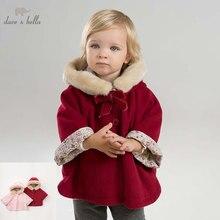 DBM7753 dave bella outono inverno infantil casaco meninas do bebê da criança Com Capuz casacos crianças de alta qualidade outerwear