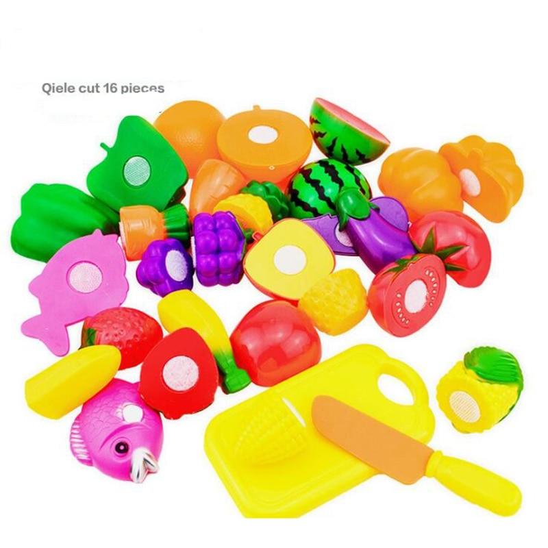 16PCS Children Play House Toy Cut Fruit Plastic Vegetables Kitchen Baby Classic Kids Toys Pretend Playset Educational Toys