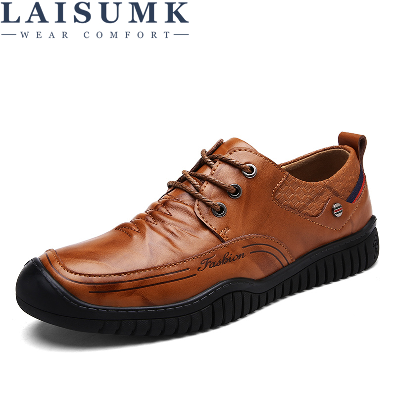 LAISUMK Fashion Comfortable Casual Shoes Loafers Men Shoes Quality Split Leather Shoes Men Flats Hot Sale Moccasins Shoes in Men 39 s Casual Shoes from Shoes