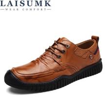 LAISUMK Fashion Comfortable Casual Shoes Loafers Men Shoes Quality Split Leather Shoes Men Flats Hot Sale Moccasins Shoes все цены