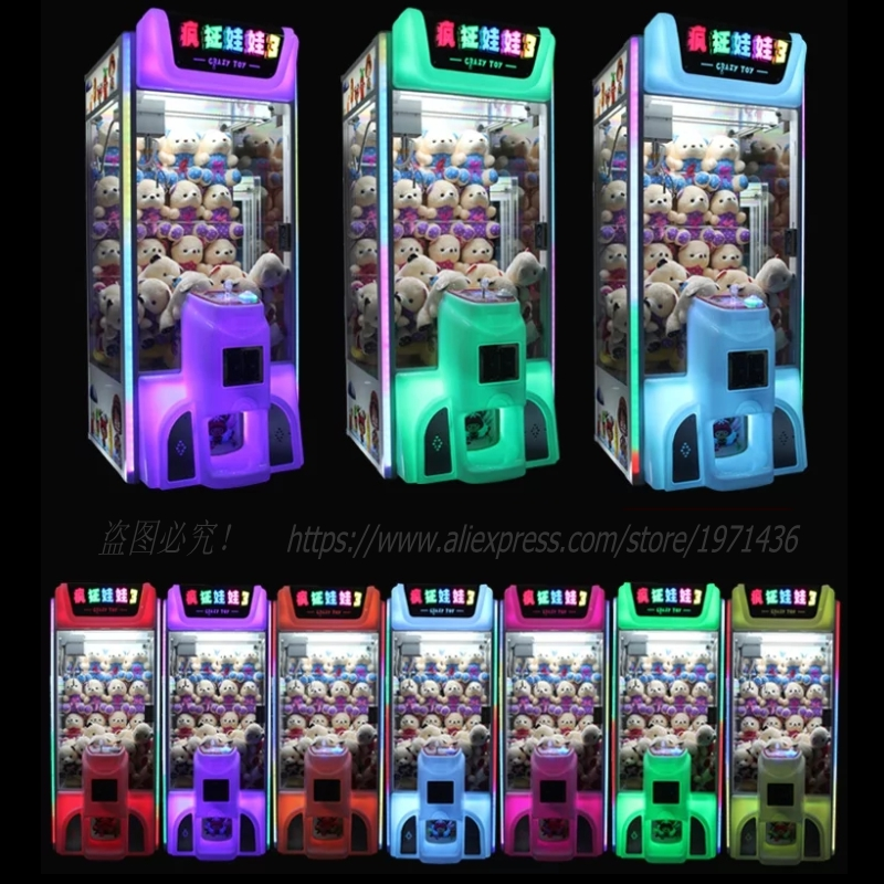 2018 New Amusement Equipment Colorful Bright Luminated Token Coin Operated Arcade Games Doll Toys Cranes Claw Machine 2016 new amusement park equipment arcade coin operated machine simulator mario kart play car racing games