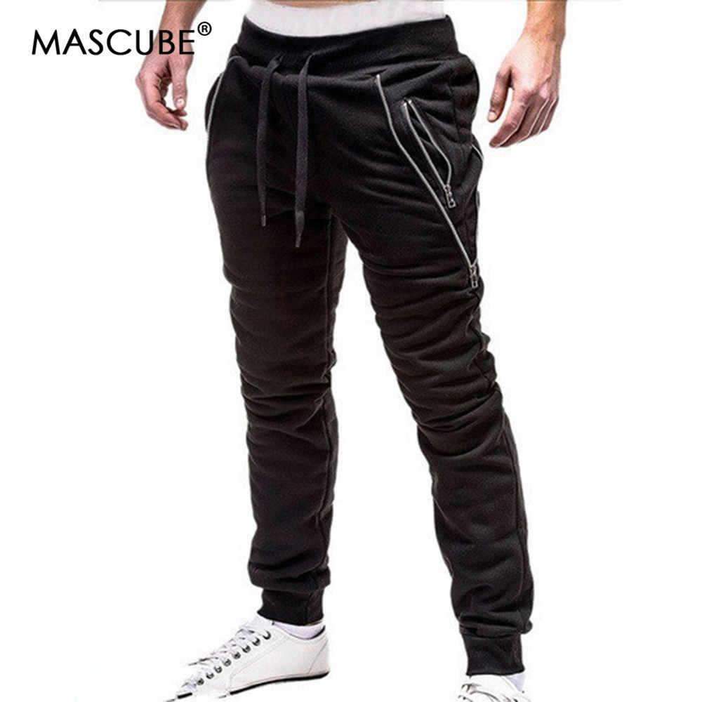 MASCUBE 2019 бренд для мужчин брюки для девочек хип хоп шаровары, штаны для бега 2019 мужской мужские брюки для бега Твердые молния украшения