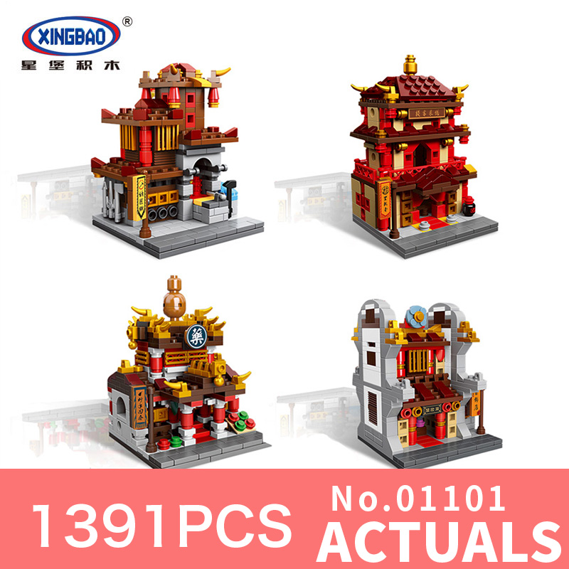 1391Pcs Xingbao 01101 MOC Chinese architecture Series The Blacksmith shop Children Educational Building Blocks Bricks Toys Model in stock new xingbao 01101 the creative moc chinese architecture series children educational building blocks bricks toys model