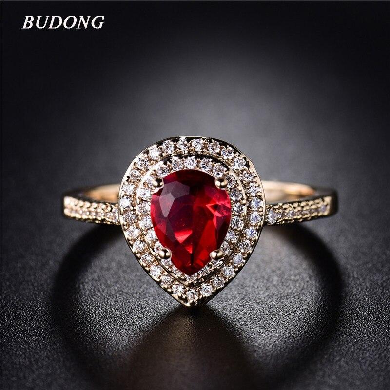 2017 Budong Neue Ankunft Fingerring Für Frauen Gold Farbe Schöne, Große Red Oval Kristall Zirkon Romantische Hochzeit Schmuck Xur302