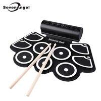 Портативный рулон электронный барабанный инструмент для упражнений 9 Beat встроенный динамик комплекты ковриков с 2 Педалями и барабанными п
