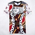 Camiseta 3D engraçado Jogando CARTAS K Rei/Q Rainha Gráfico Tops Tees Poker Face de Impressão Dos Homens T Camisa Da Novidade T Camisa Mais o Tamanho M-XXL