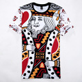 Funny 3D T Shirt Playing CARDS K King/Q Queen Graphic Tops Tees Poker Face Print Mens T Shirt Novelty Tee Shirt Plus Size M-XXL