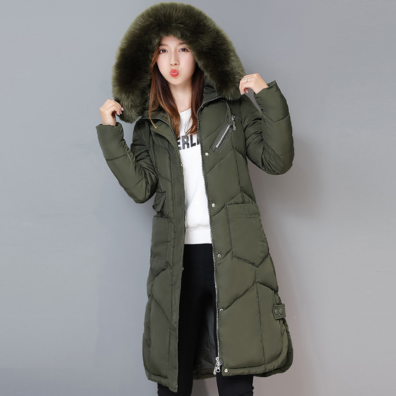 2017 Cotton Parkas For Women Winter With Fur Solid Color Long Thick Warm Hooded Coat Plus Size Slim Zipper Quilted Jacket QH0596 2017 new women winter coat long quilted jacket thick warm solid color cotton parkas female slim hooded zipper outwear okb88