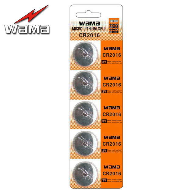 5x Wama Original CR2016 ECR2016 KCR2016 BR2016 LM2016 Li-ion Lithium 3V Button Cell Coin Battery Car Remote Watch