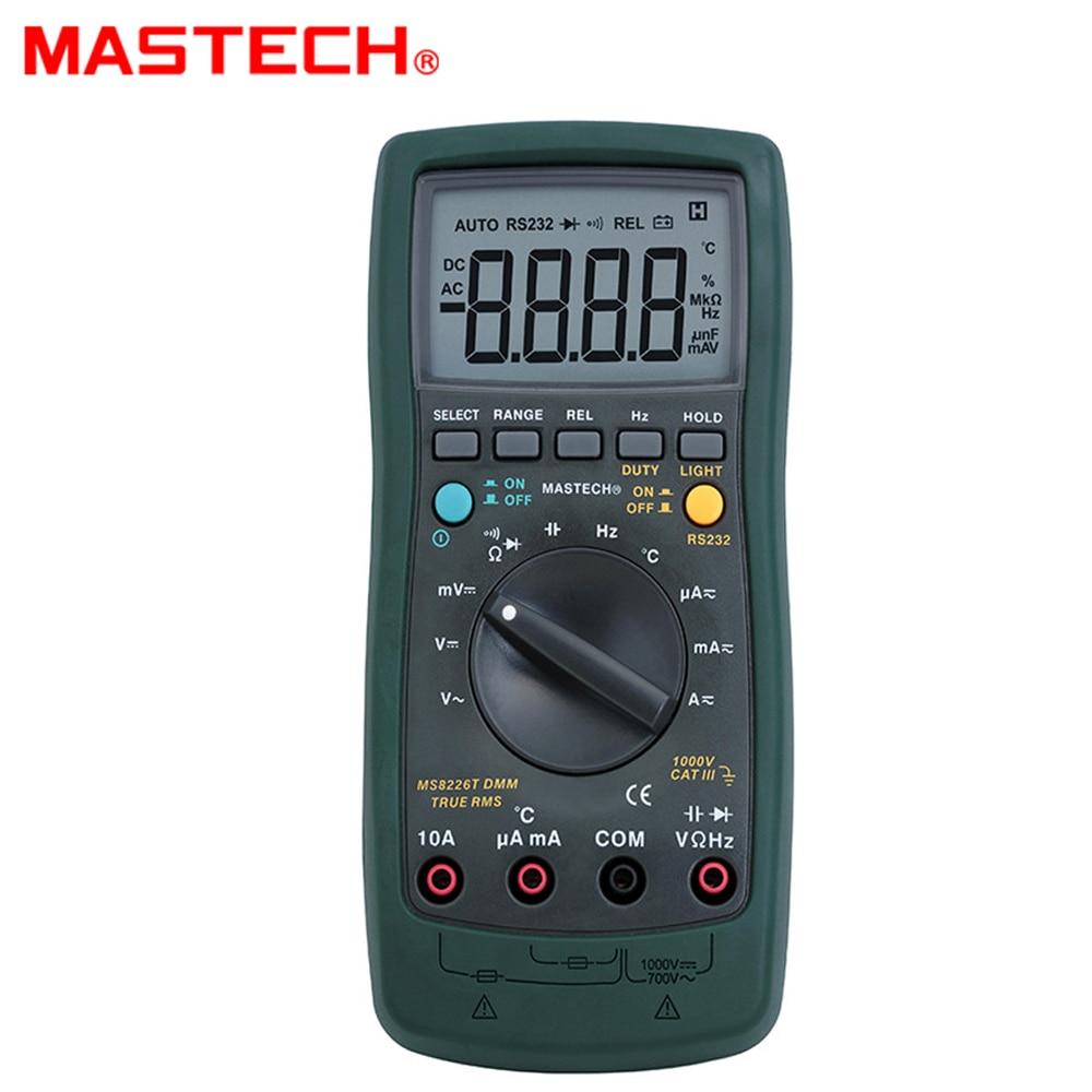 MASTECH MS8226T Digital Multimeter Auto Range True RMS DMM HZ Capacitance Temperature Meter
