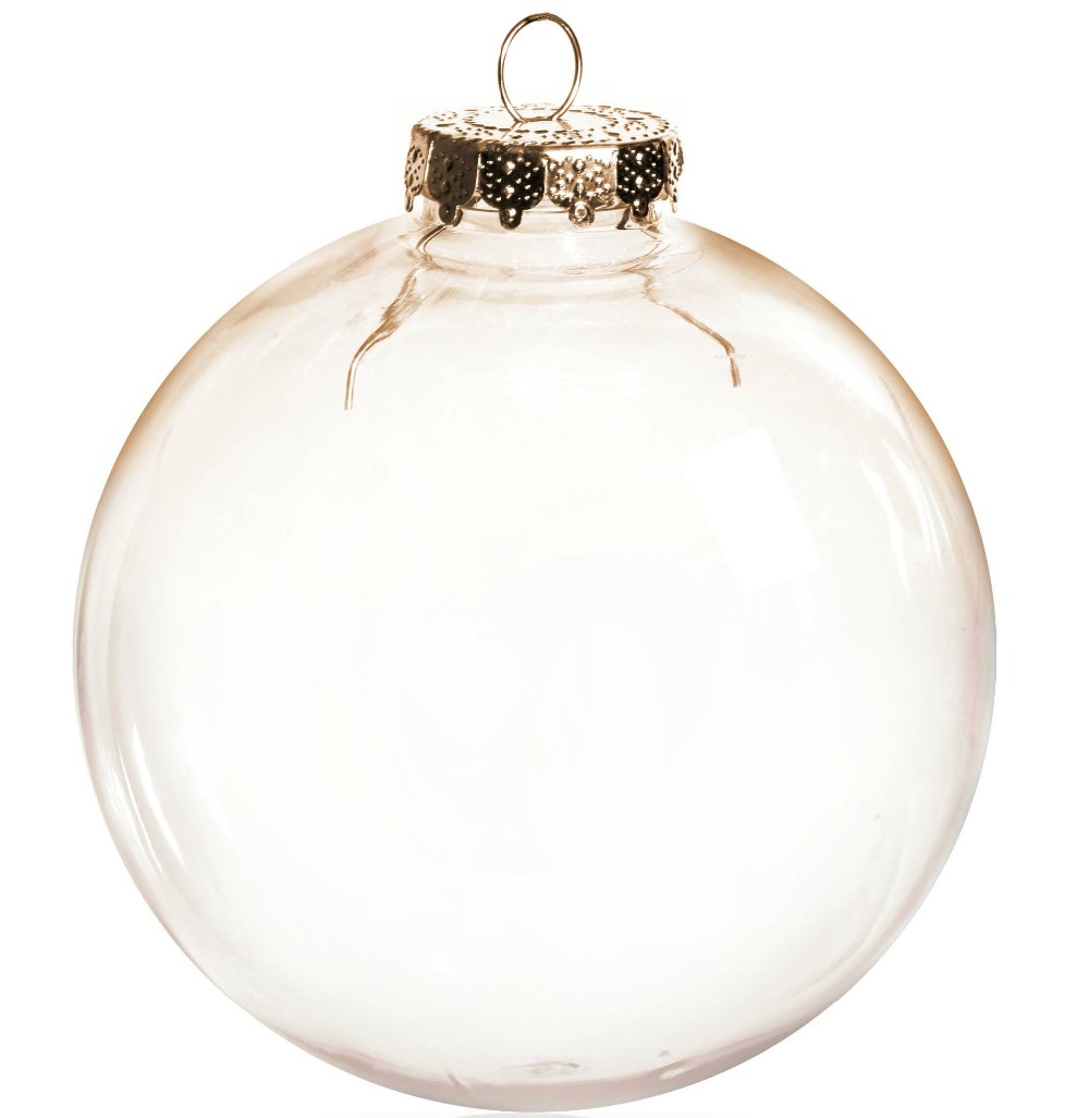 Clear glass ball ornaments - Free Shipping Diy Paintable Shatterproof Clear Christmas Decoration 100mm Seamless Gold Cap Plastic Ball