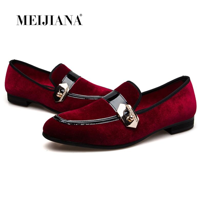 Meijiana Metal Homens Loafers Sapatos Vermelho De Moda Fivela Couro Flats Alta Estilo Outono Qualidade Genuína rxUrInR