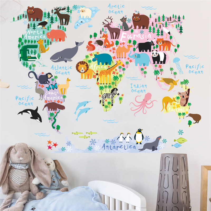 >new cartoon animals world map wall stickers for kids rooms <font><b>office</b></font> home <font><b>decor</b></font> pvc wall decals diy mural art posters decorations