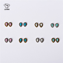 LEAMX 10 PCS/bag 3D Nail Art Decoration Metal Water Droplets Matt Nails Manicure Decorative Charm Alloy Stickers 8 Colors