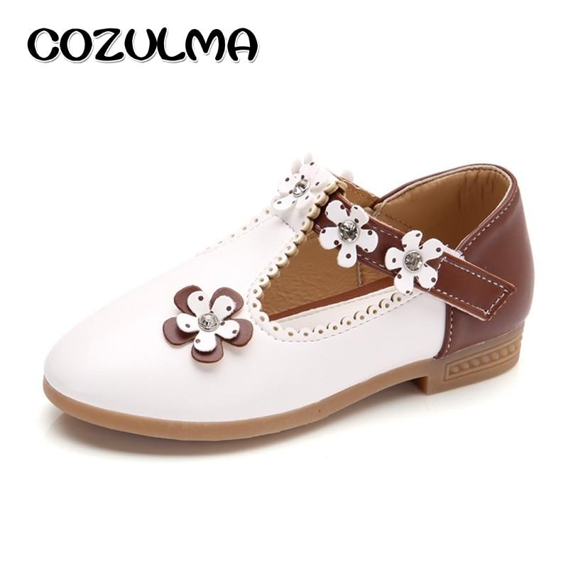 COZULMA Anak Sepatu Kasual Anak Perempuan Sepatu Kulit Gadis Putri Bunga Sepatu Pesta Anak Flat Sepatu Kasual Ukuran 21-36