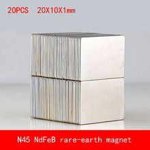 20PCS 20*10*1mm N45 sheet Strong NdFeB rare earth permanent magnet plating Nickel 20X10X1MM цена и фото