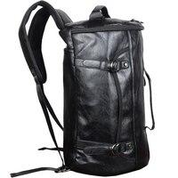 PU Leather Outdoor Sports Gym Bag For Men with Shoes Pocket Training Backpack Fitness Shoulder Bag Waterproof Travel Handbag