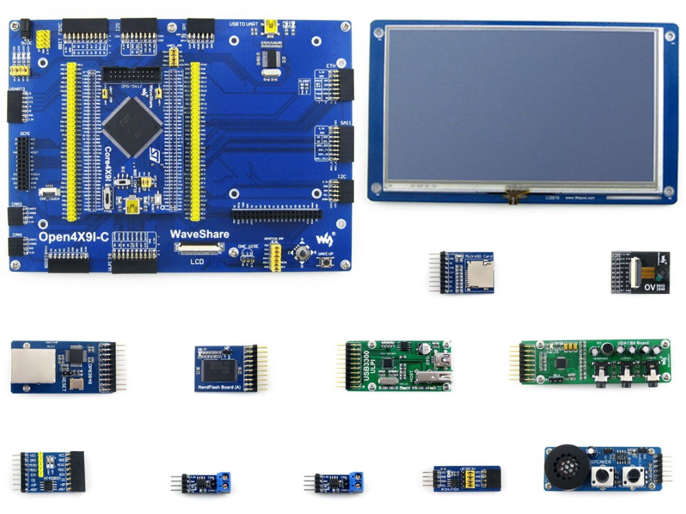 Parts Open429I-C Package B=STM32 Development Board,Core429I with STM32F429IGT6 MCU,Cortex M4 +7inch Capacitive Touch LCD+11Modul xilinx fpga development board xilinx spartan 3e xc3s250e evaluation board kit lcd1602 lcd12864 12 modules open3s250e package b