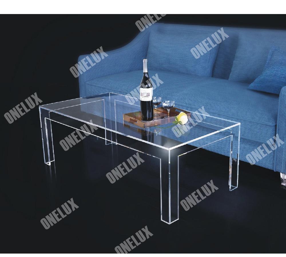 Eine lux rechteckigen acryl couchtisch klare lucite plexiglas cocktail tee tische v beine 2021610110