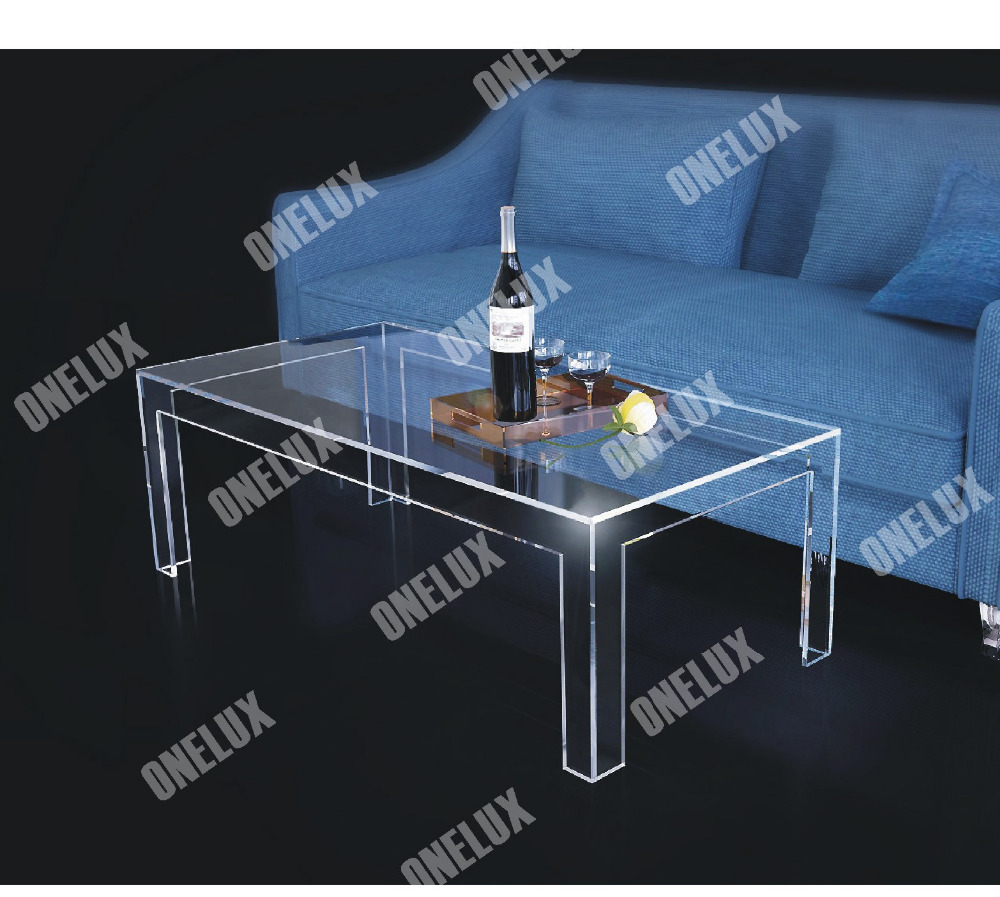 One Lux Rectangular Acrylic Coffee Coffee Table Clear Lucite Plexiglass