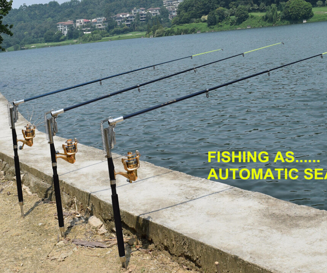 Portable folding fishing rod 2 1 automatic fishing for Automatic fishing pole
