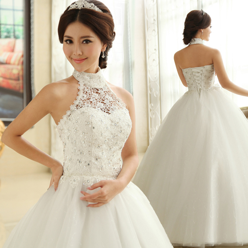 2013 new arrival sweet princess halter neck diamond studded lace ...