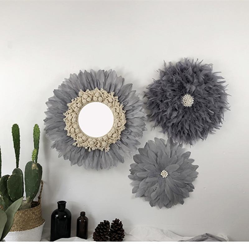 Nordique rond fait main tapisserie plume verre miroir rond mur décoratif miroir Art créatif maison Design d'intérieur R1641