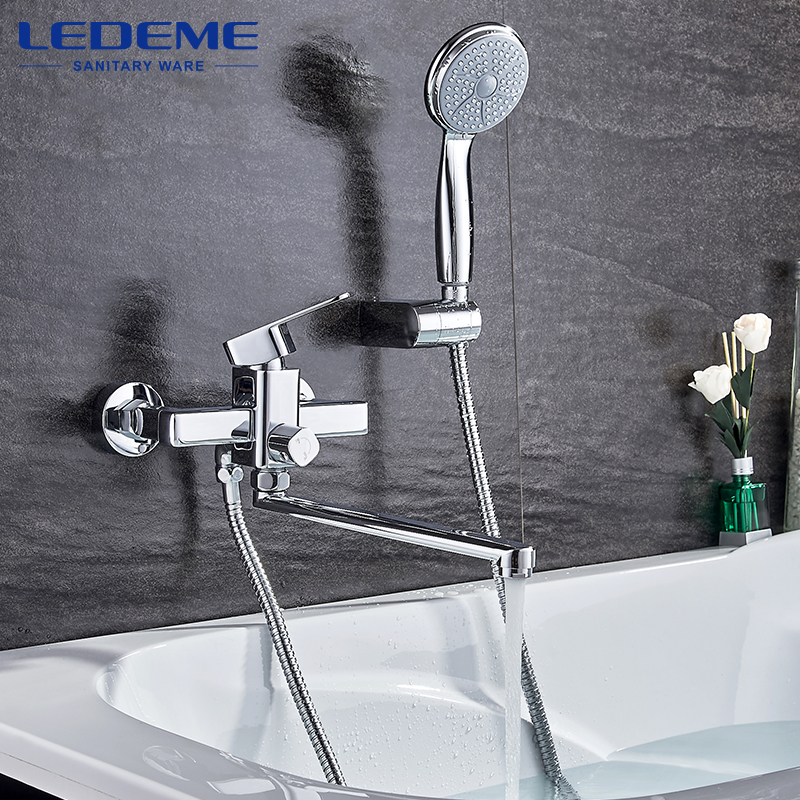 LEDEME Shower Faucet Set Bathroom Brass Bathtub Shower Faucet Bath Shower Tap Chrome Plated Shower Head Wall Mixer Tap L2233 диски helo he844 chrome plated r20