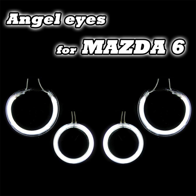 цена на 4Pcs CCFL Angel Eyes Kit Halo Light 03-07 Mazda6 CCFL Angel Eyes Headlamp Excellent Ultrabright Illumination CCFL Angel Eye