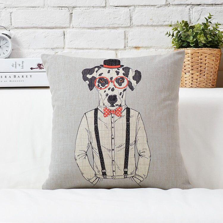 € 13.21 |Envío libre Navidad regalo fresco Mr. perro con gafas sombrero  suéter patrón de lino funda de cojín en casa caso decorativo cojín en ...