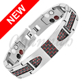 Channah 2017 Titanium 4-in-1 Magnetic Silver Bracelet Black Red Carbon Fiber Health Men Germanium Free Shipping Bangle Charm