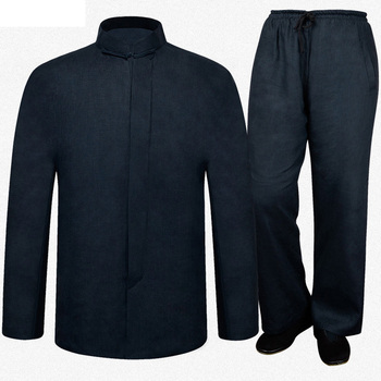 Brand New Arrival ChineseTraditional Men's Solid 100% Linen Suits Sets Coats+Pants M L XL XXL 3XL MTJ070203