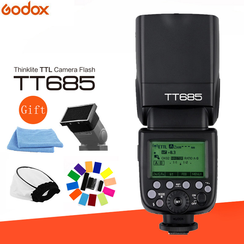Godox TT685 2.4g Wireless HSS 1/8000 s TTL Flash Della Fotocamera Speedlite + Flash Diffusore per Nikon canon Sony Olympus Fujifilm