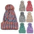 Hotselling chapéu pompom Skullies Lã Malha Chapéus de Inverno para As Mulheres De Pele & gorros Gorro De Pele pompons chapéu gorro feminino femme