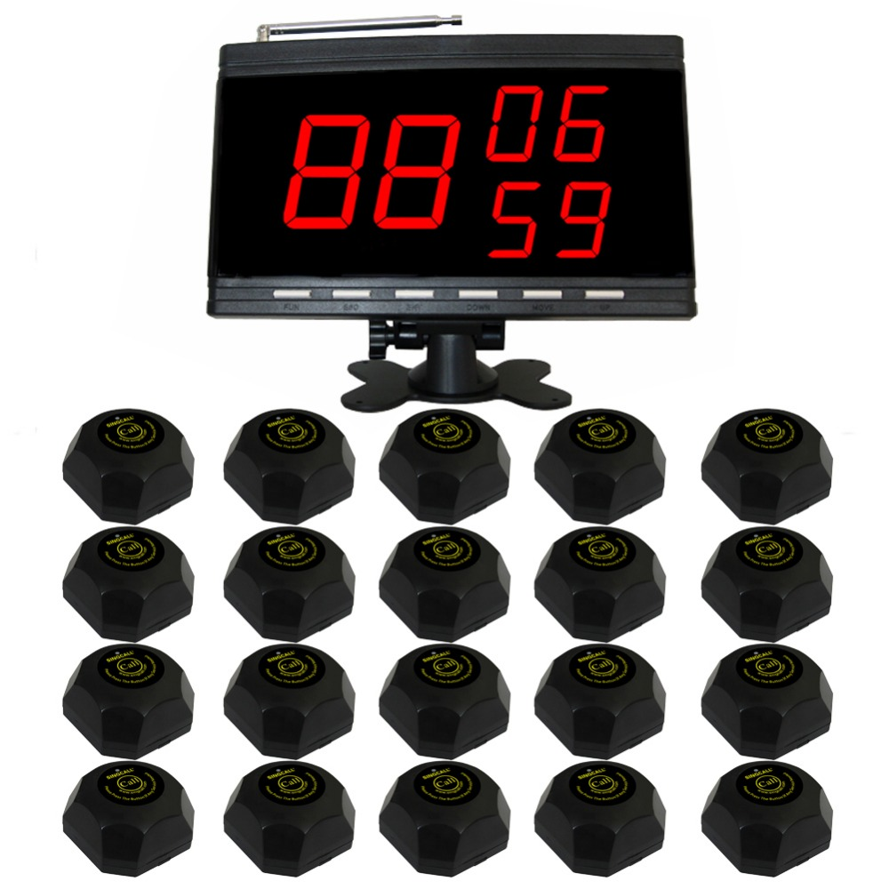 SINGCALL Wireless service bell calling system. paging system.Inexpensive, 20 Pagers and a luxury black host .