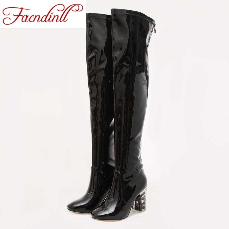 new crystal heel boots patent leather thigh high boots sexy fashion over the knee boots high heels woman shoes black botas mujer avvvxbw 2016 new brand long boots fashion elastic over the knee boots shoes woman square heel genuine leather thigh high boots