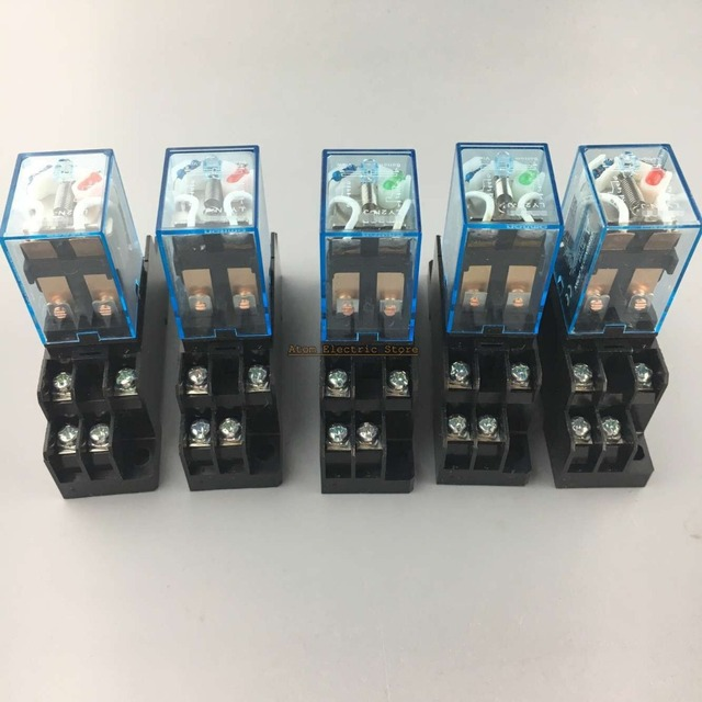 5sets LY2NJ DC AC 24V Coil Power Relay Miniature Relay DPDT 8 Pins