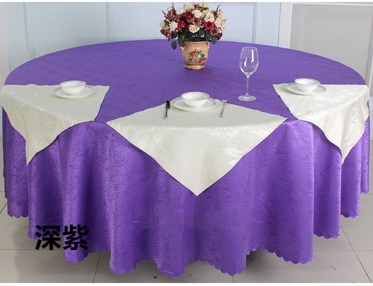 quality purple rose jacquard restaurant hotel round table cloth for weddings parties hotels restaurant