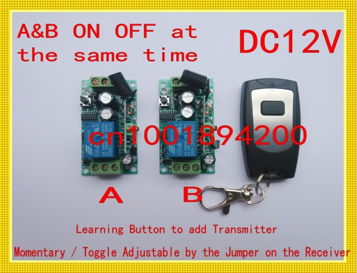 DC12V RF Remote Control Switch Receiver Transmitter 2Receivers ON OFF at the same time 315/433 Learning Code Momentary Toggle remote control switch led light lamp remote on off system ac85v ac260v 100v 110v 240v 230v 127v learning code receiver 315 433