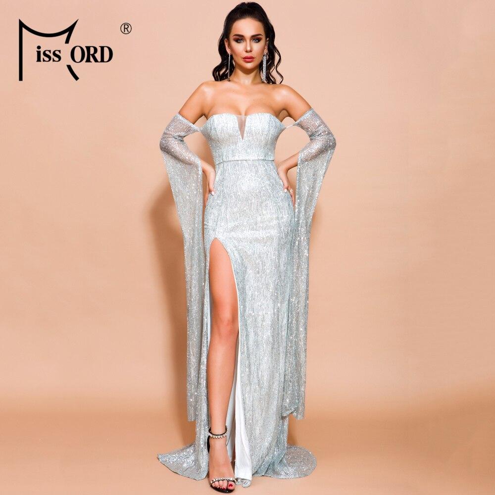 Missord 2020 Women Sexy Off Shoulder Long Sleeve Split Dresses Female Elegant High Split Glitter Dress  FT18558-2