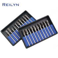 Tungsten steel file set 10 pcs 3 x 6mm thread milling cutter rotary file grinding bits for electric hand drill / rotary tools