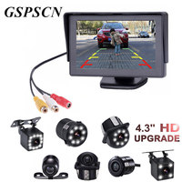 GSPSCN 2 in1 TFT 4.3 Inch Auto TFT LCD Rearview Parking Monitor + LED Night Vision CCD Backup Rear View Camera With Car Monitors